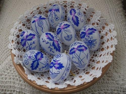 Velikonoční  ručně malované  kraslice,cibulák