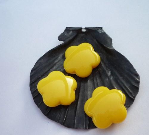 žluté akrylové kytičky 6  ks - 15 mm
