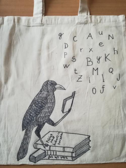Plátěná taška - pták knihomol