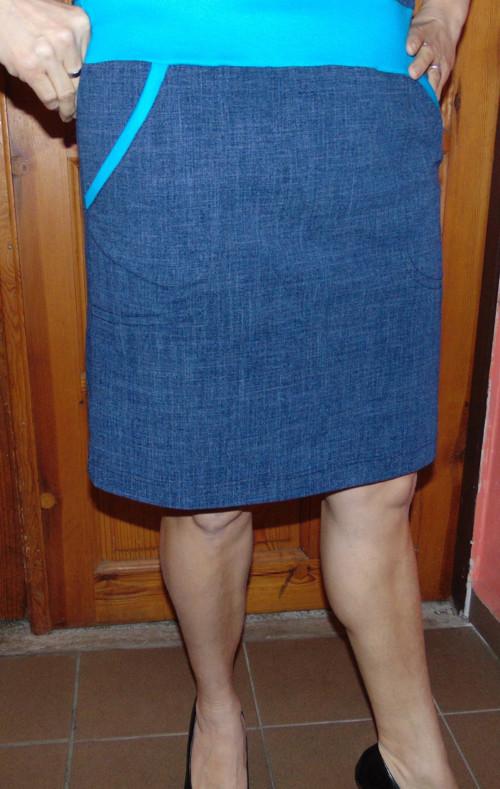 sukně jeans s kapsama,s tyrkysem