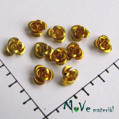 Korálek růžička 10mm, 10ks zlatá