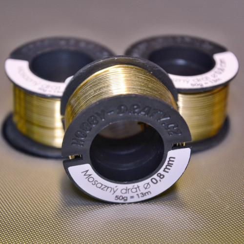 Drát mosazný nelakovaný 0,8 mm 13m - 50g