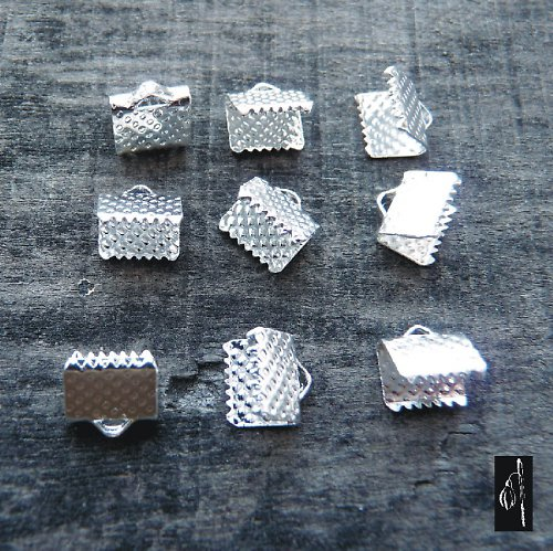 Koncovka 6x8 na stužky, stříbrná barva, 12 ks