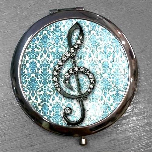 Zrcátko Houslový klíč na modrém