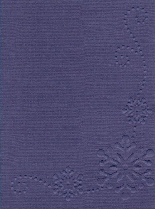 Embosovaná čtvrtka A6 - vločka krajová tm. modrá