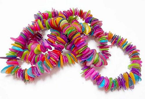 Zlomky perleť mix barev cca 110ks