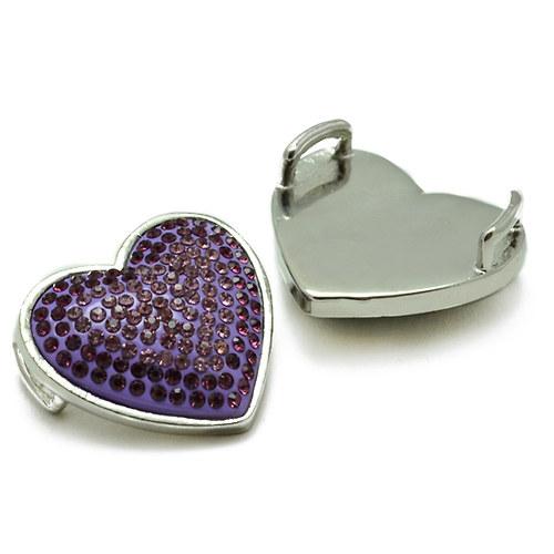 Fialové srdce 30x30mm