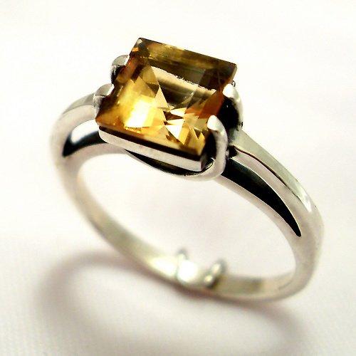 Prsten «Rozbřesk» - stříbro 925, přírodní citrín