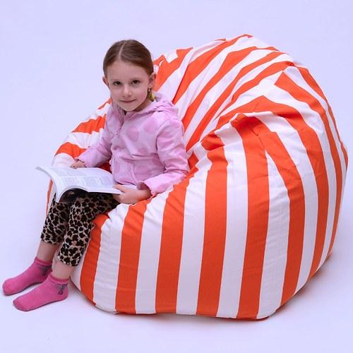 Sedací vak oranžovobílý - velký