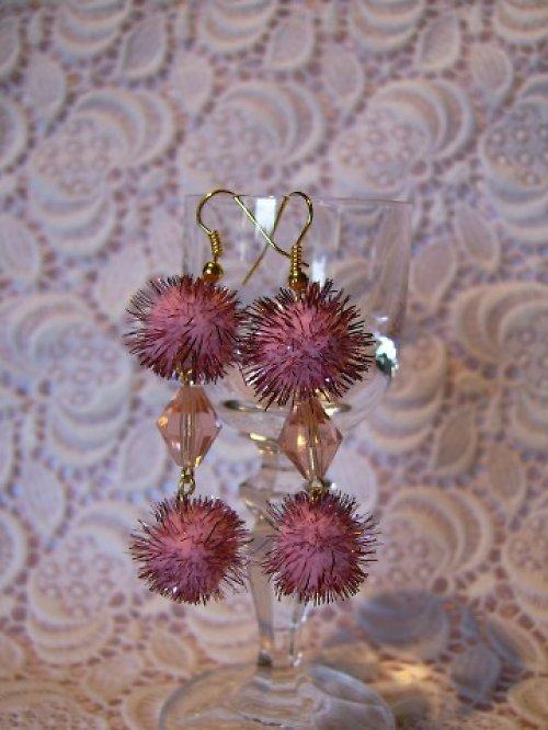 Růžové snění - náušnice
