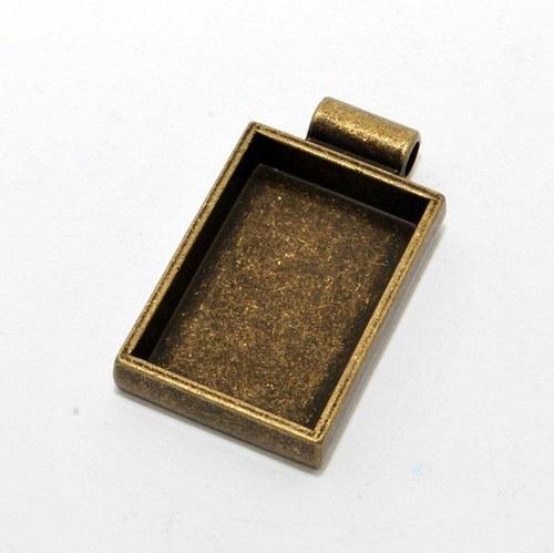 Kovový základ na přívěsek obdélník / zlatý