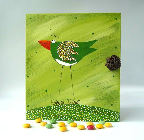 Sušák trpaslíků s alarmem - zelený s ptáčkem
