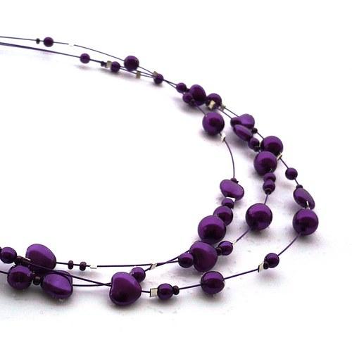 Fialový perličkový náhrdelník