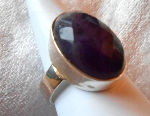 Stříbrný prsten - Ametyst (3c)