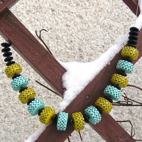 Náhrdelník - yellow and green - chirurgická ocel