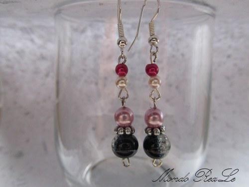 Náušnice - černo růžové perličky