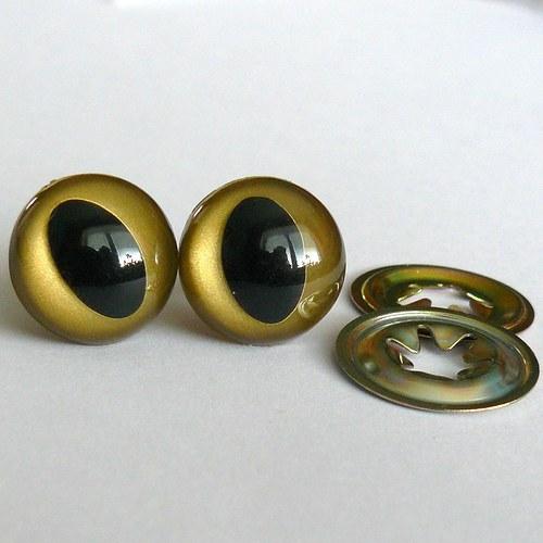 Bezpečnostní oči kočičí - zlaté, 12 mm