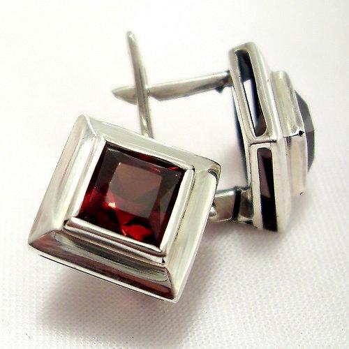 Náušnice «Okínko» - stříbro 925, granát