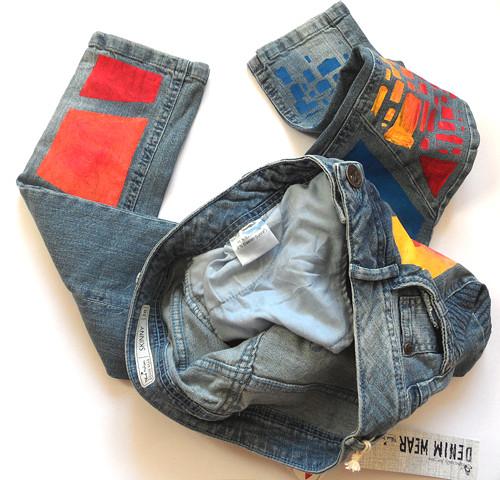 Malované dámské světle modré džíny Blue motion