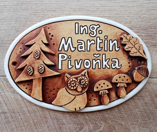 jedinečná keramická jmenovka pro lesního inženýra