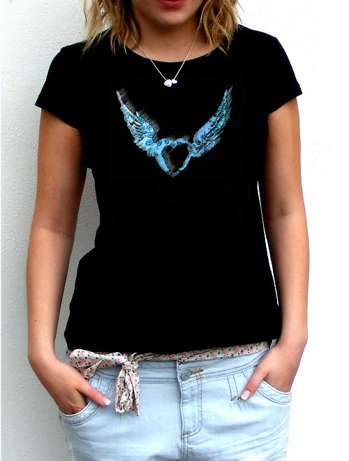 Dámské tričko,,Heart in blue,,