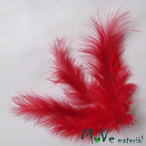 Pštrosí peří délka 120-170mm, 4ks červené