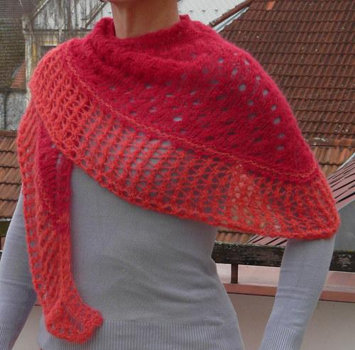 jemný hřejivý pletený šátek-červený-alpaka,hedvábí