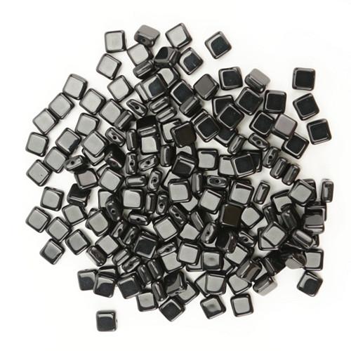 Skleněné ČTVEREČKY 6x6mm - černá (50ks)