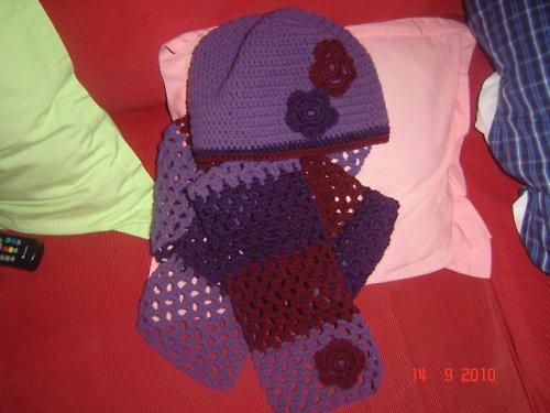Háčkovaná čepice + šála