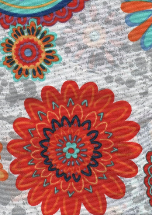 Látka,vzor mandala, květiny, barevné