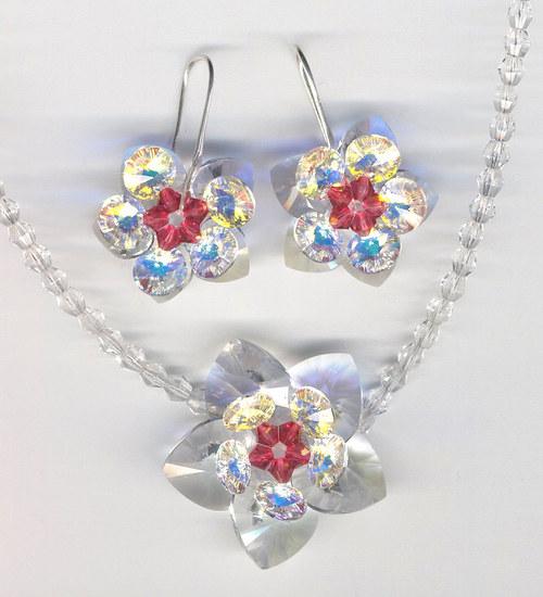 souprava- Swarovski Elements naušnice a náhrdelník