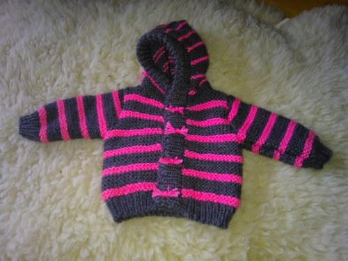 Dětský svetřík s kapuckou(šedo-růžový)