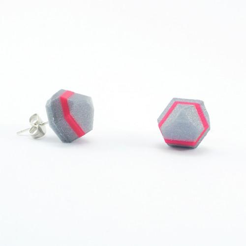 Náušnice krystal silver/magenta