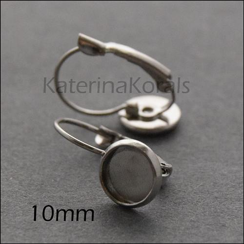 2106 náušnice lůžko VISACÍ 10 mm/platinová b/ 2 ks