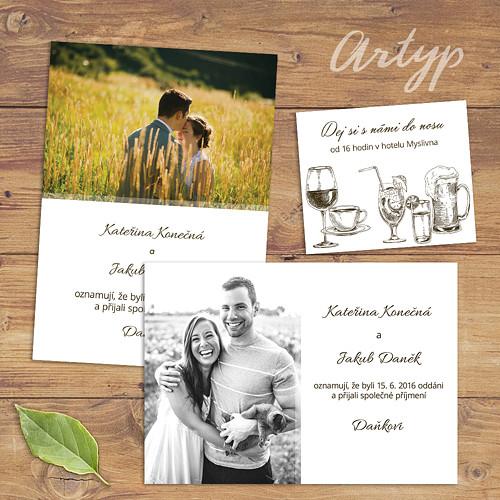 Svatební oznámení s fotkou