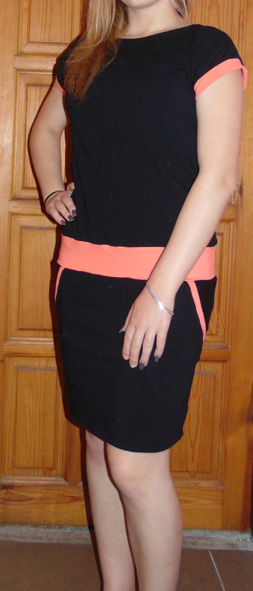 šaty černé s barevnými lemy-výběr barev