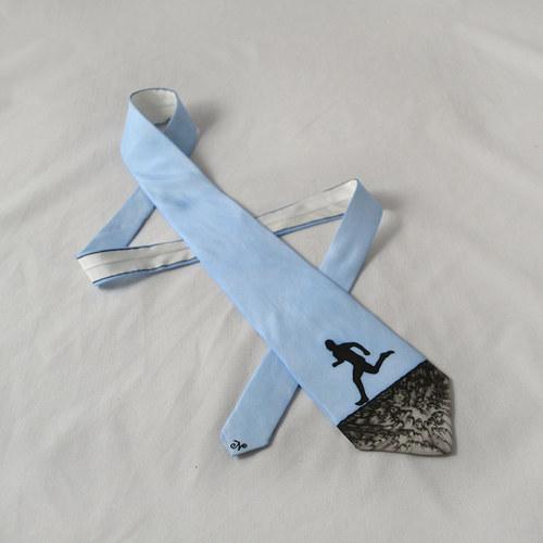 Hedvábná kravata s běžcem modro-černá