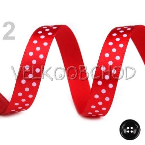 Saténová stuha š.10mm puntíky (1m) - červená