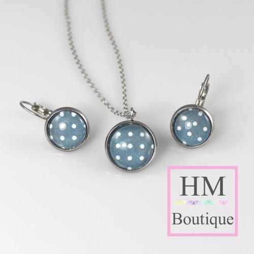 ocelový set -náušnice a náhrdelník modrý s puntíky