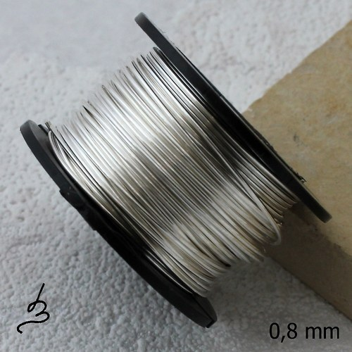 Postříbřený měděný drát 0,8 mm - 9 m