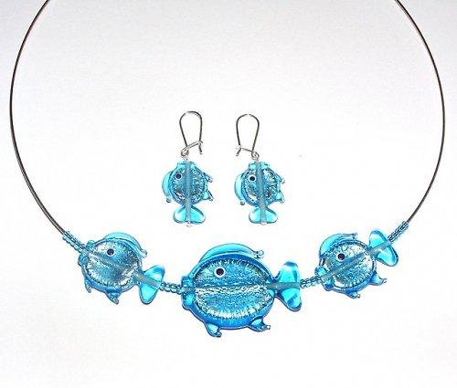 Sada náhrdelník + náušnice rybky modré