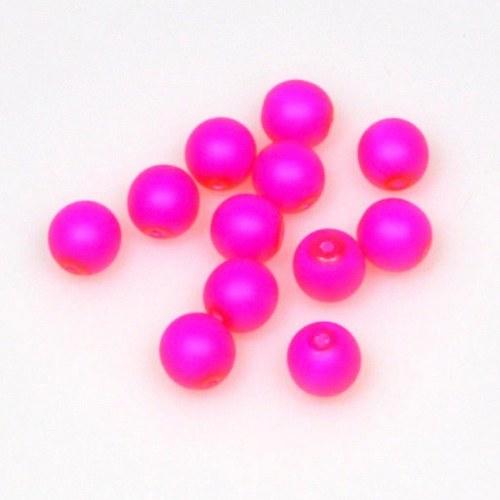 Neonové korálky 50 ks / 8 mm / růžové