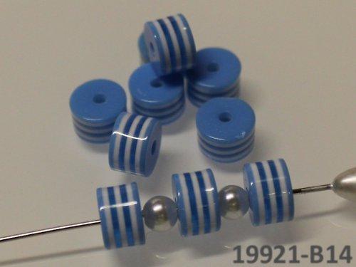 19921-B14 Korálky proužky válečky MODRÉ, bal.10ks