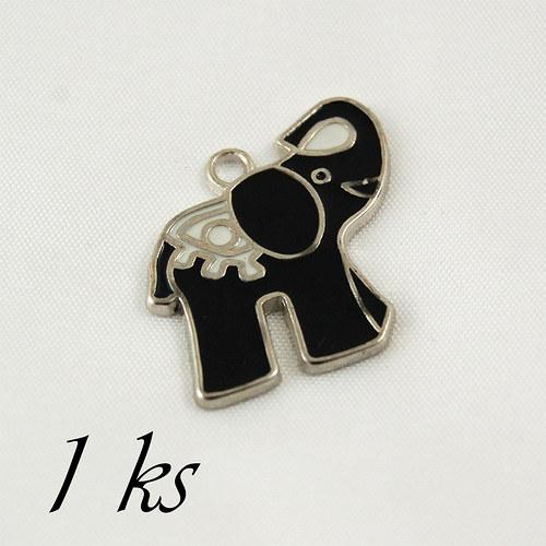 Černý smaltovaný slon - 1ks