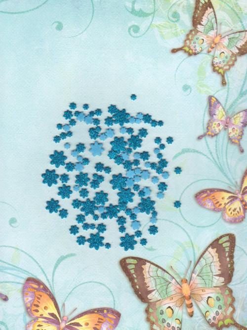 Kytičky z pěnovky - sv. modré se třpyt. (100 ks)