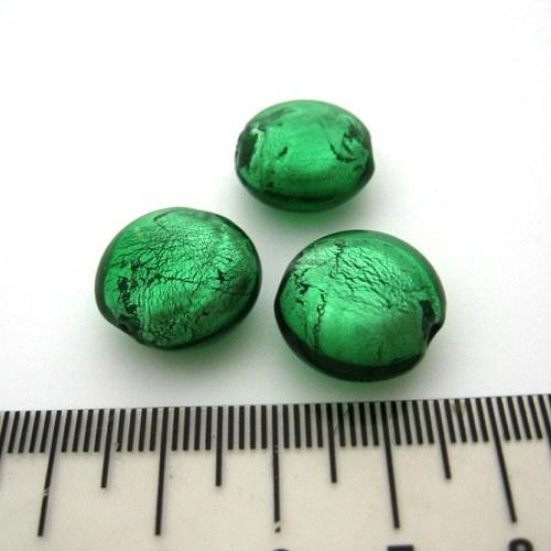 vinutá perla čočka 16mm, emerald