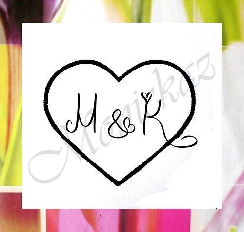 Svatební s iniciály menší... Omyvatelné razítko.