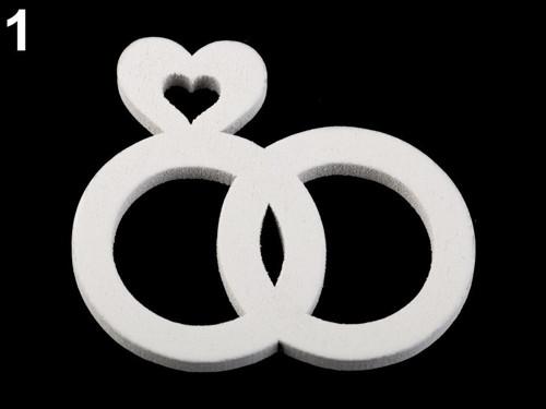 Dřevěné svatební dekorace - prstýnky (4ks)