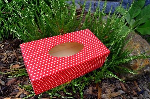 Krabička na kapesníky - bílé puntíky na červené