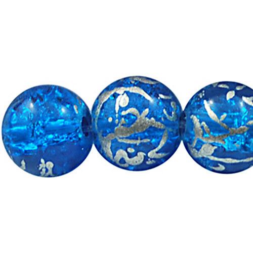 skleněné korálky práskačky/ modrá/8mm/10ks